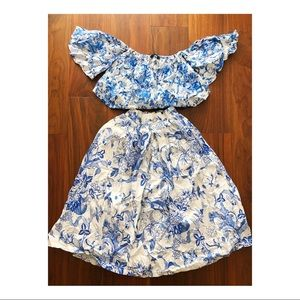 Zara coordinating blue and white outfit. XS/S